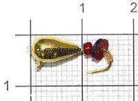 Мормышка Безмотылка №3 капля с ушком d5 золото