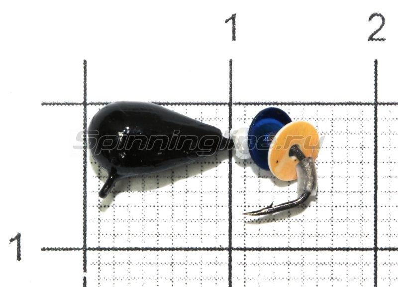 Lumicom - Мормышка Безмотылка №3 капля с ушком d5 черный лак - фотография 1