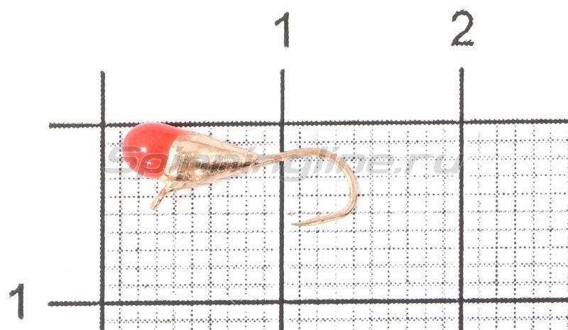 Lumicom - Мормышка Капля с ушком d3.2 медь с красной каплей - фотография 1