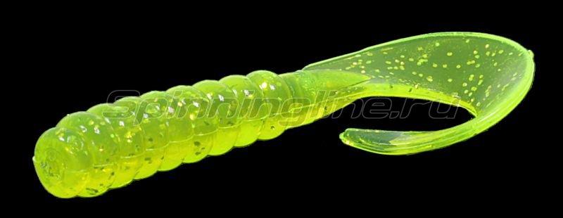 "Pradco Yum - Приманка Walleye Grub 3"" chartreuse silver flake 356 - фотография 1"