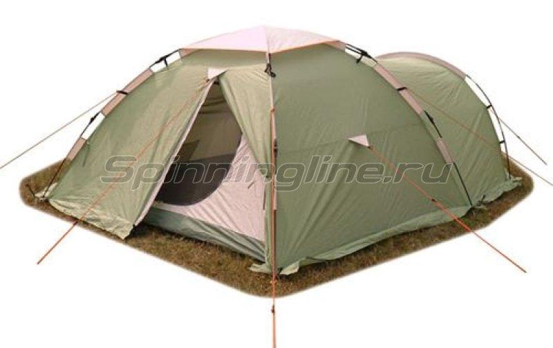 Палатка туристическая быстросборная Itera 3 (зеленая с тиснением) -  1