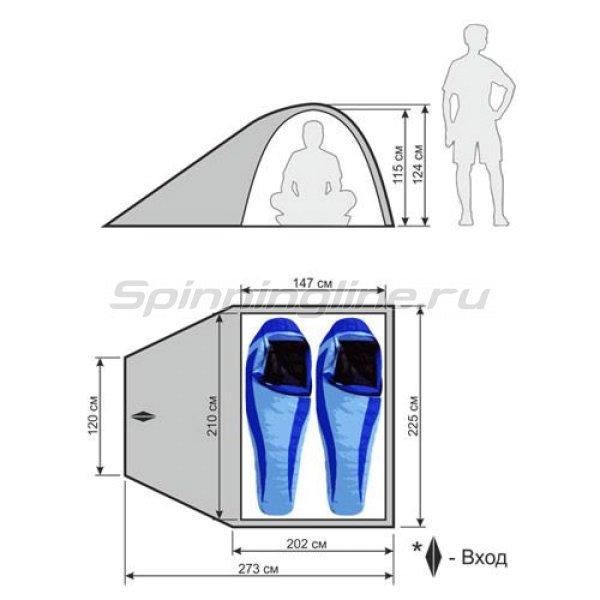 Палатка туристическая быстросборная Mobile 2 (зеленый с тиснением) -  2