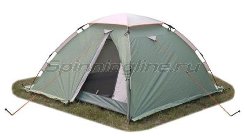 World of Maverick - Палатка туристическая быстросборная Wind 3 (зеленый с тиснением) - фотография 1