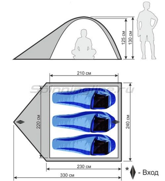 World of Maverick - Палатка туристическая быстросборная Wind 3 (зеленый с тиснением) - фотография 2
