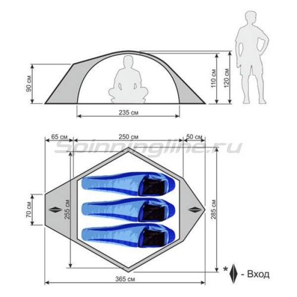 Палатка туристическая быстросборная Igloo 3 цвет зеленый с тиснением -  2