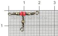 Вертлюг Metsui Triple Swivel With Red Bead black, 12X14