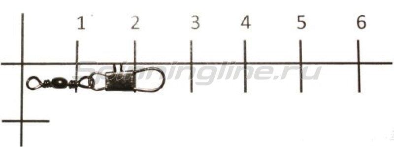 Вертлюг с карабином Brass Barrel Swivel With Interlock Snap black, №14 -  1