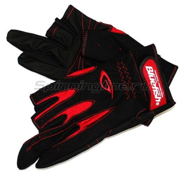 Перчатки рыбацкие с 3-мя обрезанными пальцами (черный с красным) -  1