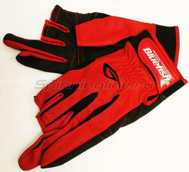 Blue Fish - Перчатки рыбацкие с 3-мя обрезанными пальцами (красный с черным) - фотография 1