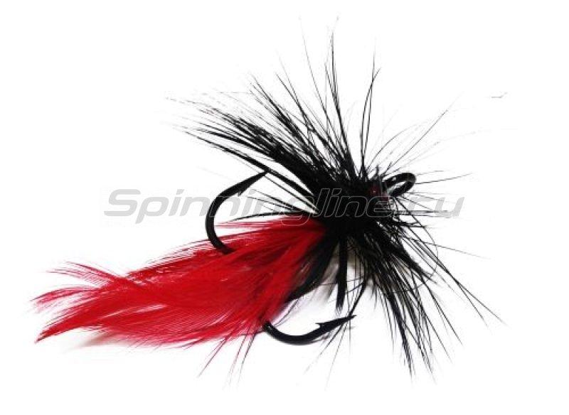 STRIKE PRO - Муха на тройнике VMC 9649BK №6 черно-красная (F6-BR) - фотография 1