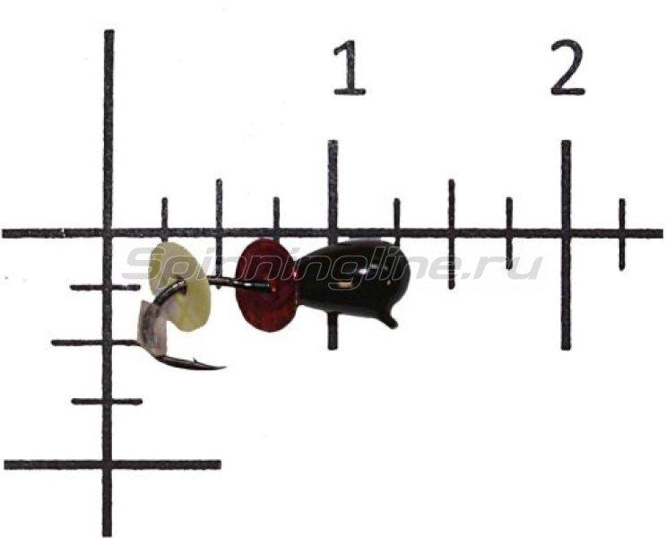 Lumicom - Мормышка Безмотылка №2 капля с ушком d3.2 черный лак - фотография 1