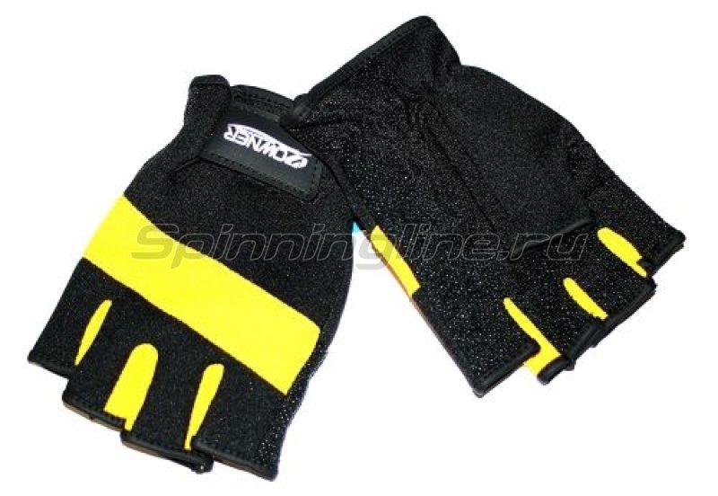 Перчатки без пальцев M черно-желтый -  1
