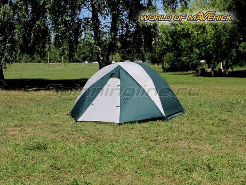Палатка туристическая быстросборная Bike 2 цвет зеленый-св. серый -  2