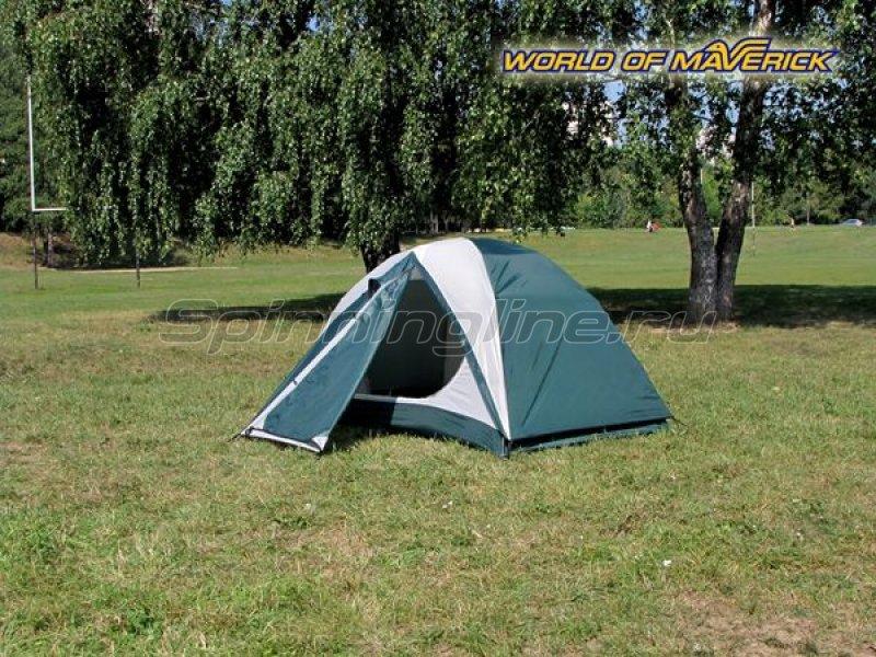 Палатка туристическая быстросборная Bike 2 цвет зеленый-св. серый -  3