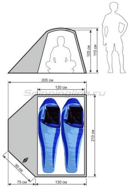 Палатка туристическая быстросборная Bike 2 цвет зеленый-св. серый -  6