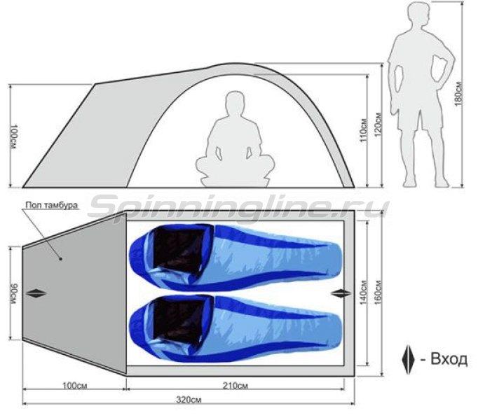 Палатка туристическая с традиционным каркасом Ideal 200 Aluminium -  2