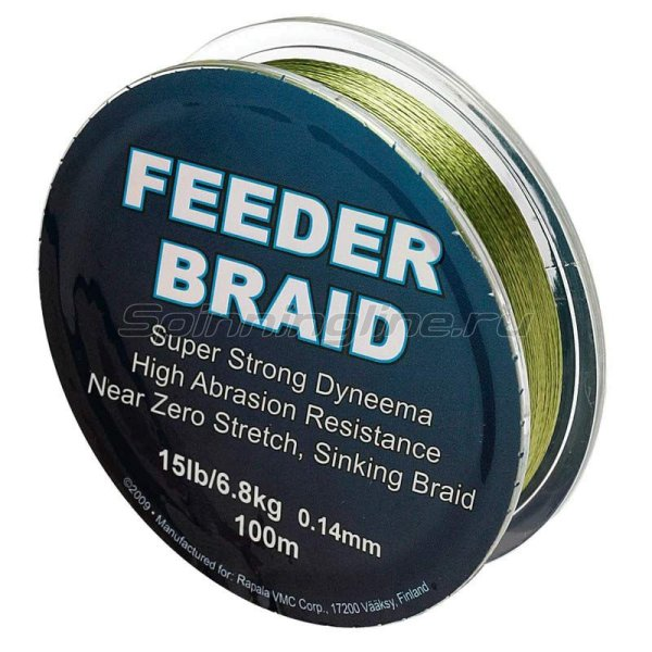 Шнур Feeder braid Olive Green 100м 0.14мм -  1