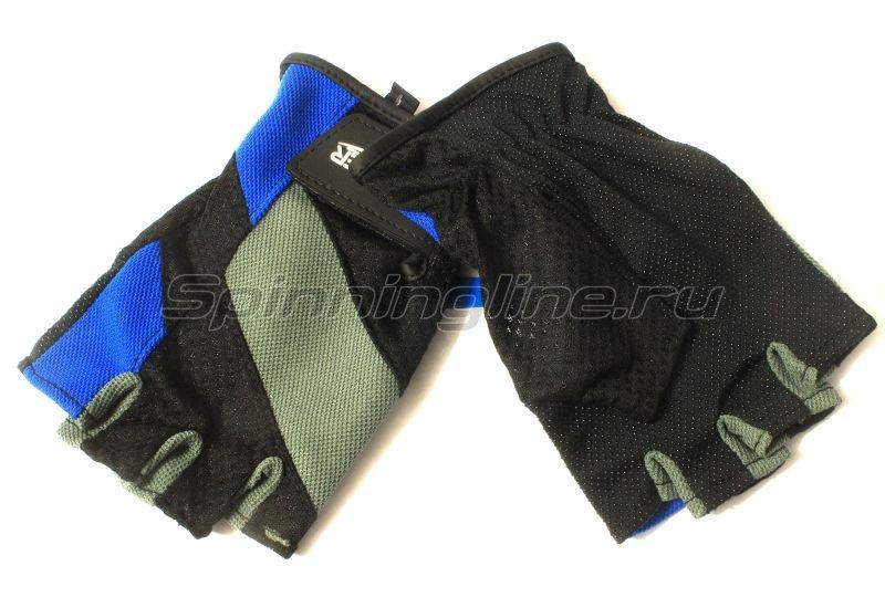 Перчатки без пальцев L черно-серый/синий -  1