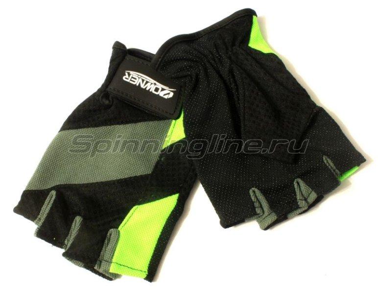 Owner - Перчатки без пальцев L черно-серый/салатовый - фотография 1