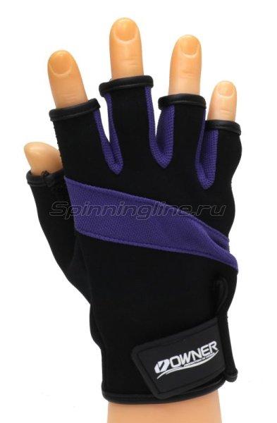 Перчатки без пальцев L черно-фиолетовый -  1
