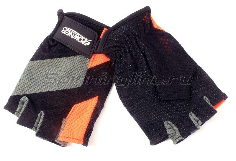 Перчатки без пальцев L черно-серый/оранжевый -  1