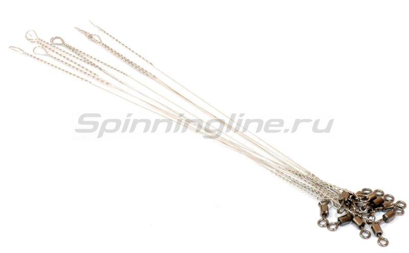 Поводок струна с вертлюжком STR 20см 0.4мм 15кг -  1