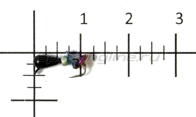 Lumicom - Мормышка Безмотылка №3 капля с ушком d3.2 черный лак - фотография 1