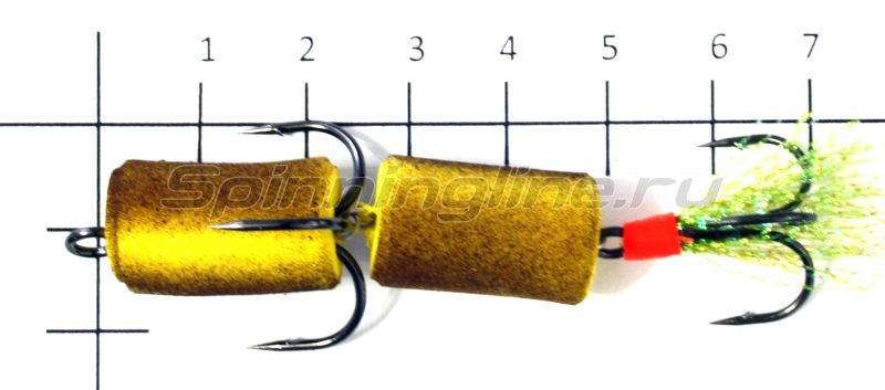 Мандула желто-коричневый, оперение - салатовый люрекс -  2