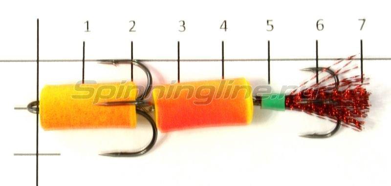 Мандула желто-красный, оперение - красный люрекс -  2