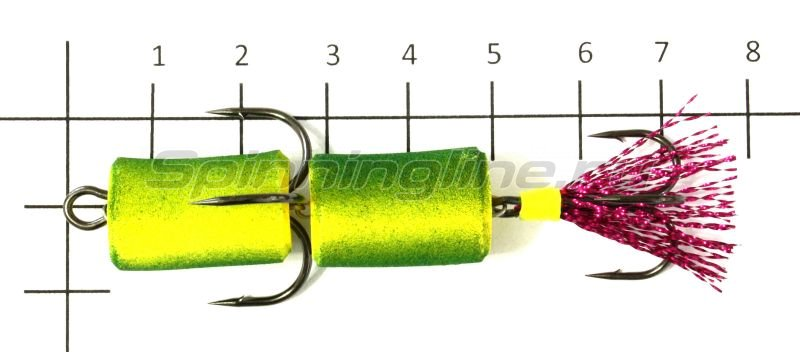 Мандула XXL желто-зеленый, оперение - малиновый люрекс -  2
