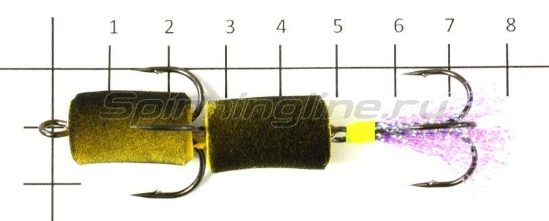 Мандула XXL желто-черный оперение - сиреневый люрекс -  2