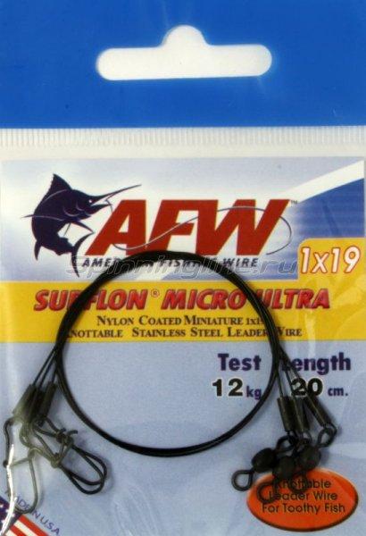 Поводок оснащенный AFW Surflon Micro Ultra 1*19 12кг-20см -  1
