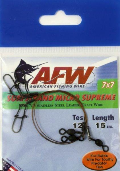 Поводок оснащенный AFW Surfstrand Micro Supreme 7*7 12кг-15см -  1