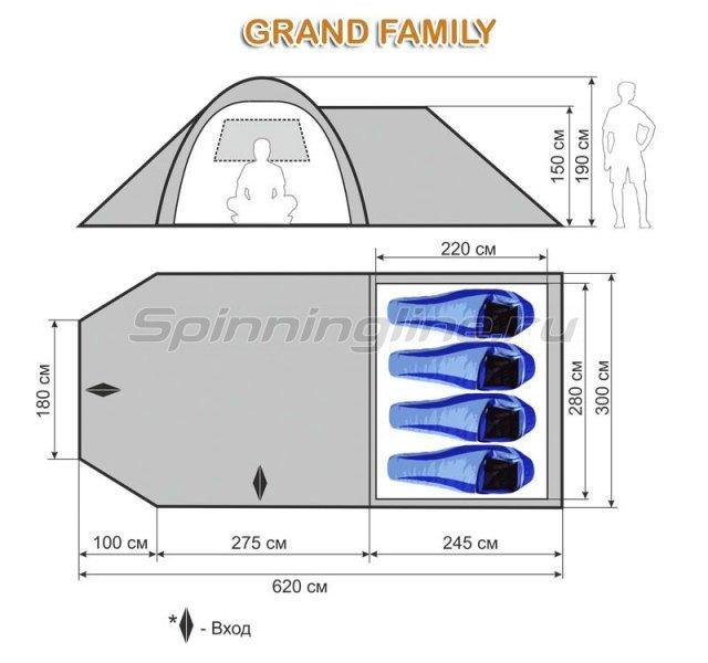Палатка кемпинговая быстросборная Grand Family -  2
