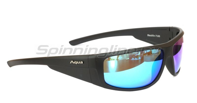 Очки Aqua Blackfin Matt Black PL-Mirror Blue - фотография 1