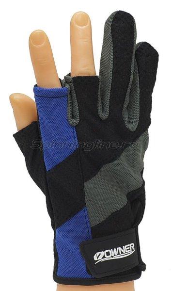 Owner - Перчатки без трех пальцев M черно-серый/синий - фотография 1