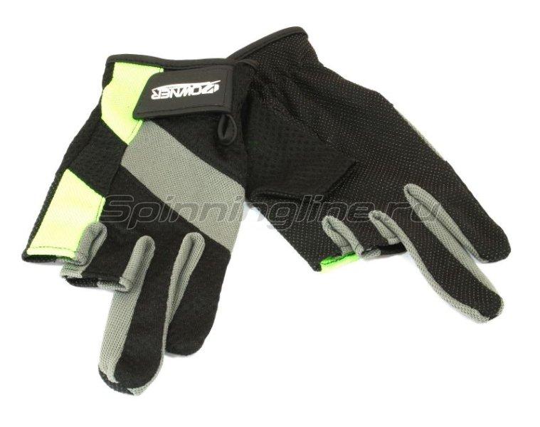 Owner - Перчатки без трех пальцев M черно-серый/салатовый - фотография 1