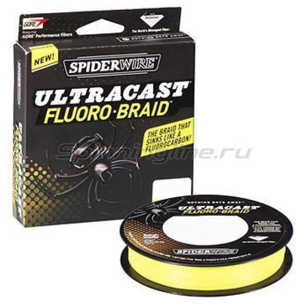 Spiderwire - Шнур Ultra Cast Fluorobraid Yellow 110м 0,33мм - фотография 1
