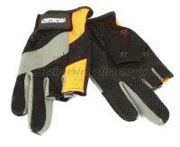Перчатки без трех пальцев L черно-серый/оранжевый