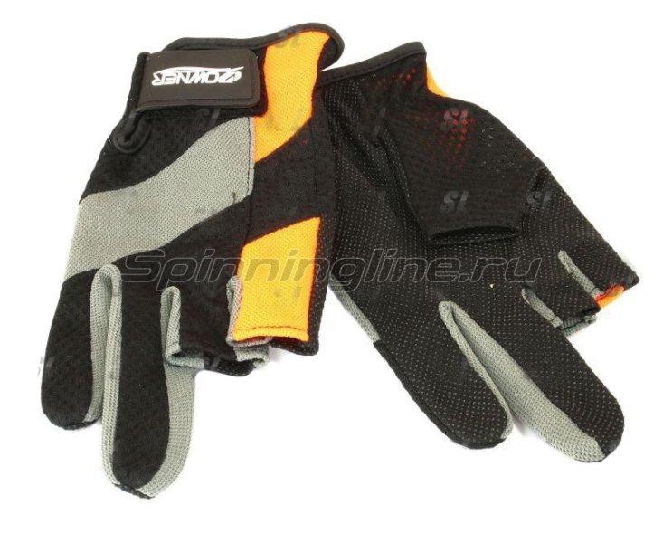 Перчатки без трех пальцев L черно-серый/оранжевый -  1