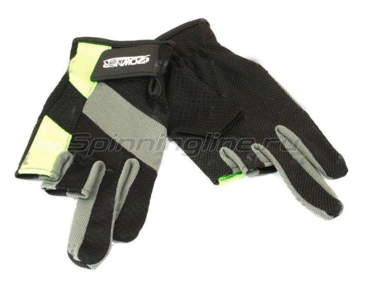 Перчатки без трех пальцев L черно-серый/салатовый -  1