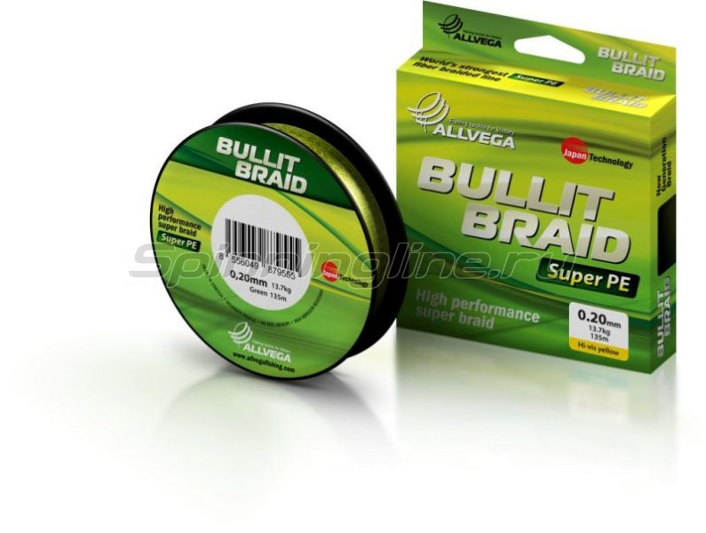 Allvega - Шнур Bullit Braid Hi-Vis Yellow 135м 0,12мм - фотография 3