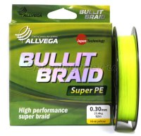 Шнур Allvega Bullit Braid Hi-Vis Yellow 135м 0,24мм