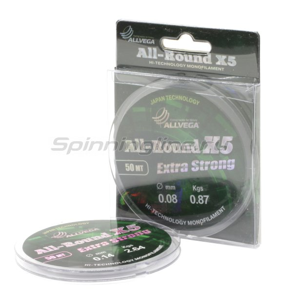Allvega - Леска All-Round X5 50м 0,12мм - фотография 1