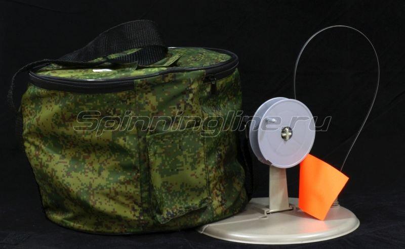 Жерлица Три Кита круглая с прямой стойкой в сумке серая (упак. 10шт) - фотография 2
