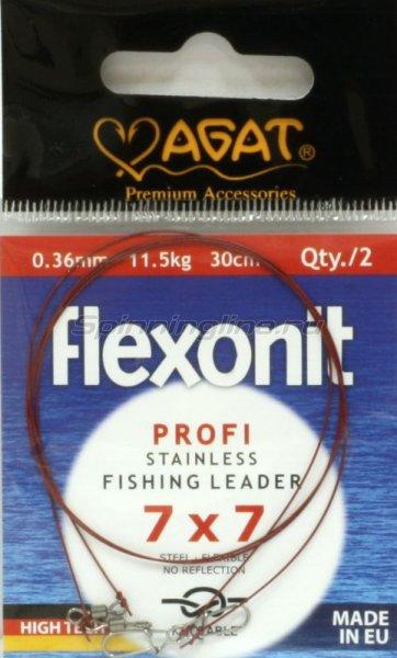 Agat - Поводок Flexonit 7х7 11,5кг 25см - фотография 1