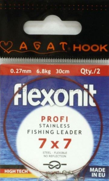 Agat - Поводок Flexonit 7х7 6,8кг 30см - фотография 1