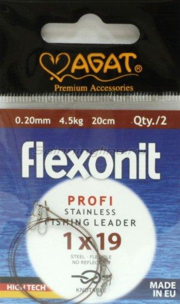 Agat - Поводок Flexonit 1х19 4,5кг 20см - фотография 1