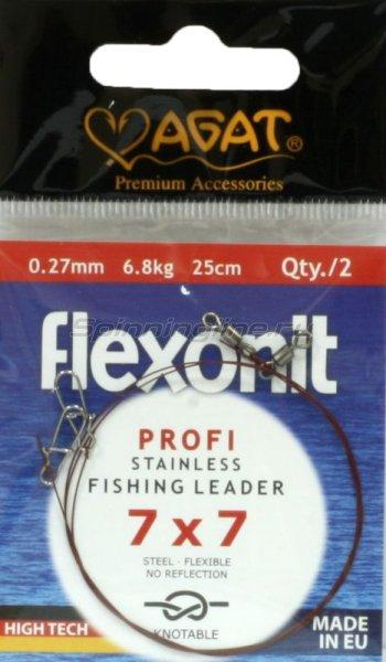 Agat - Поводок Flexonit 7х7 6,8кг 25см - фотография 1