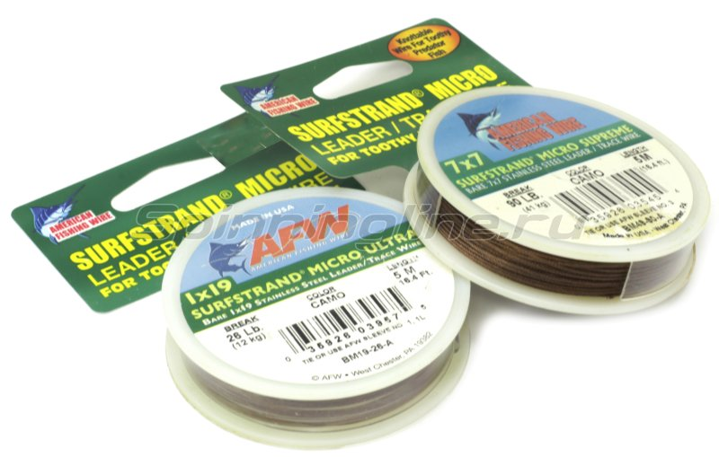 Поводковый материал AFW Surfstrand Micro Ultra 1х19, 21кг, 5м - фотография 1